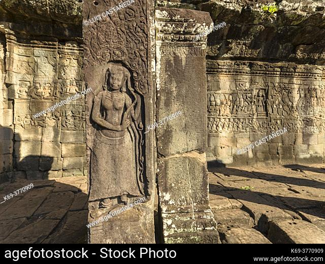 Bas-relieves. The Bayon. Angkor Thom. Siem Reap. Cambodia