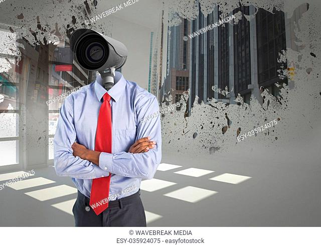 Businessman with CCTV head at office in the city