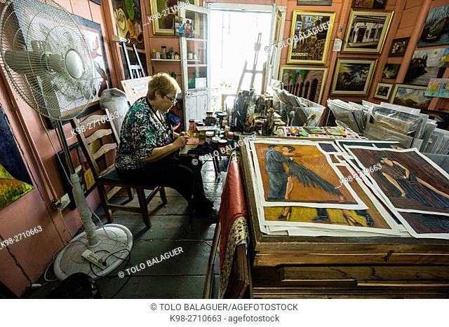 Painting studio, Caminito street, La Boca neighborhood, Buenos Aires, Argentina