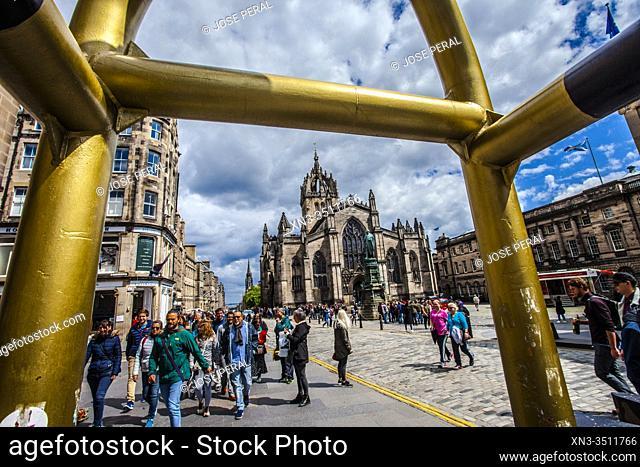 St Giles' Cathedral, or the High Kirk of Edinburgh, Royal Mile, High Street, Old Town, Edinburgh, Scotland, United Kingdom, Europe