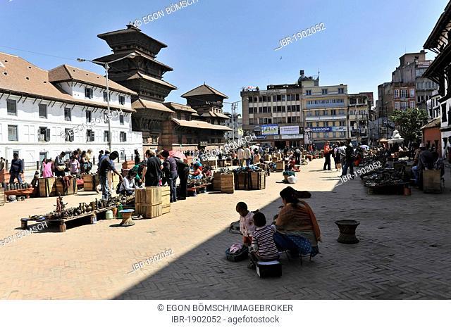 Durbar Square with many temples, pagodas and the ancient royal palace of Patan, Kathmandu, Nepal, Asia