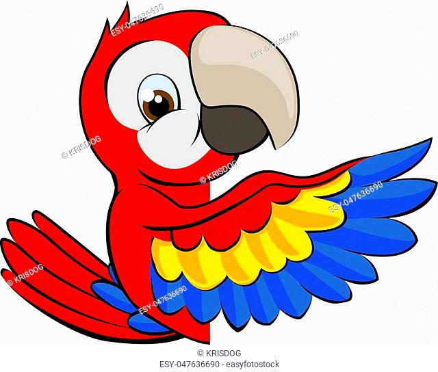 Cartoon parrot bird character mascot peeking around a sign and pointing with a wing