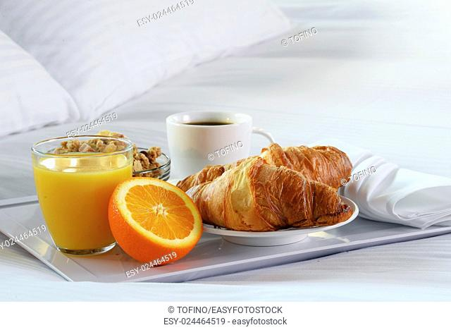 Breakfast in bed in hotel room. Accommodation