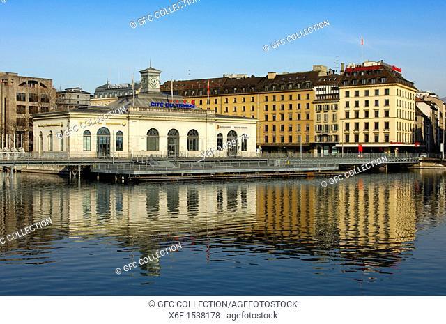 Exhibition center Cité du Temps on the bridge Pont de la machine, Geneva, Switzerland