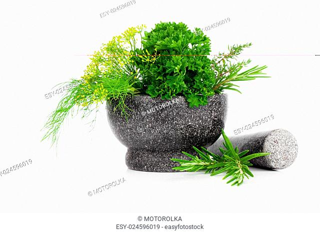 Stone mortar with green herbs, on white background