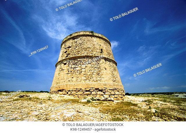 Torre des Garroveret  (Garroveret watchtower), 18th Century, Cap de Barbaria, Formentera, Balearic Islands, Spain