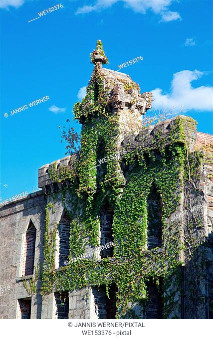 Ruins of Renwick Smallpox Hospital on Roosevelt Island, New York, NY, USA