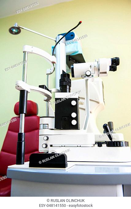 Ophthalmology room in clinic with special equipment