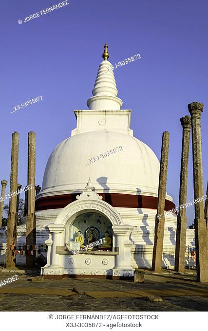 Stupa at sunset at Anuradhapura historical site. Sri Lanka