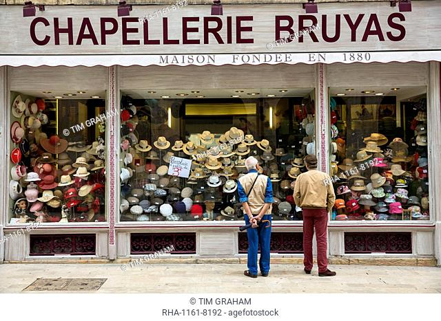 Hat shop, Chapellerie Bruyas, in Rue des Godrans in the old town in Dijon in the Burgundy region, France, Europe