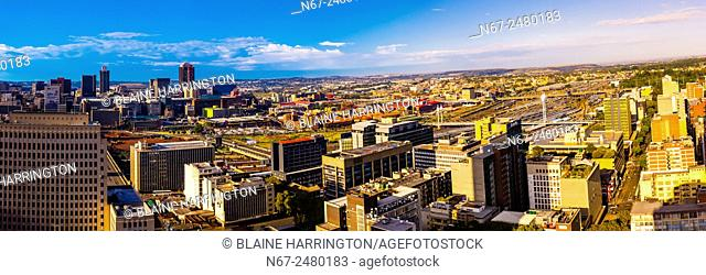 Panoramic view, Central Business DIstrict with Nelson Mandela Bridge, Johannesburg, South Africa