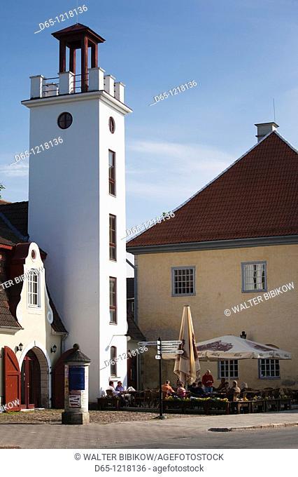 Estonia, Western Estonia Islands, Saaremaa Island, Kuressaare, cafe on Keskvaljak Square