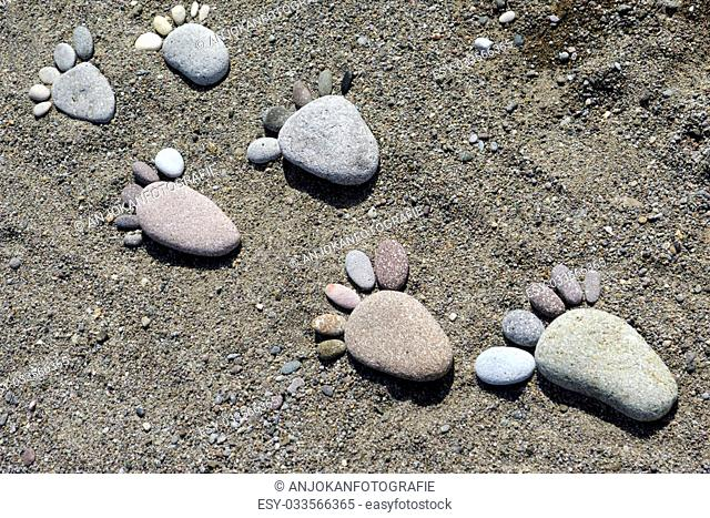 foot prints of stones on beach at the beautiful Greek Island, Lesvos