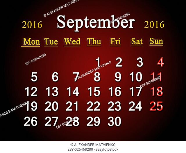 beautiful claret calendar on September of 2016. Calendar for printing and using in office life