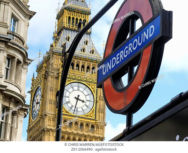 Big Ben and Underground sign Westminster London England UK