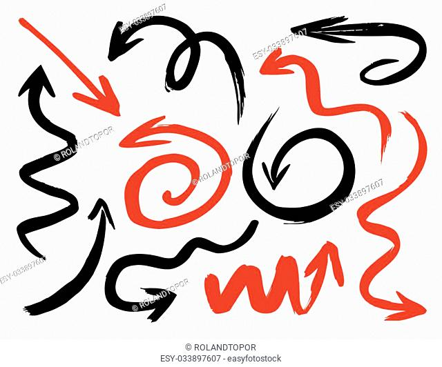 Red and Black Drawn Arrows. Vector Illustration