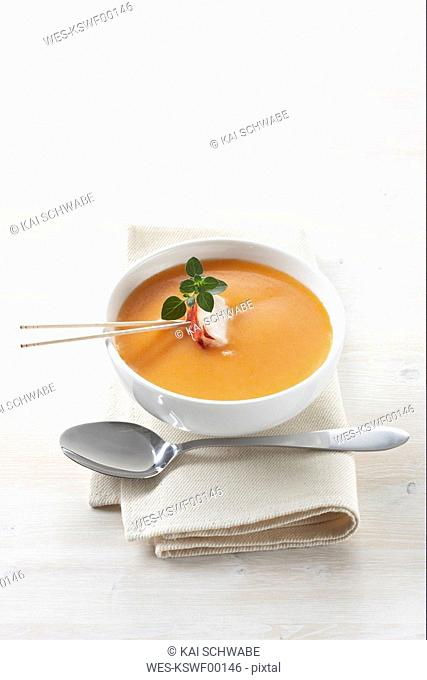 Creamed lobster soup, elevated view