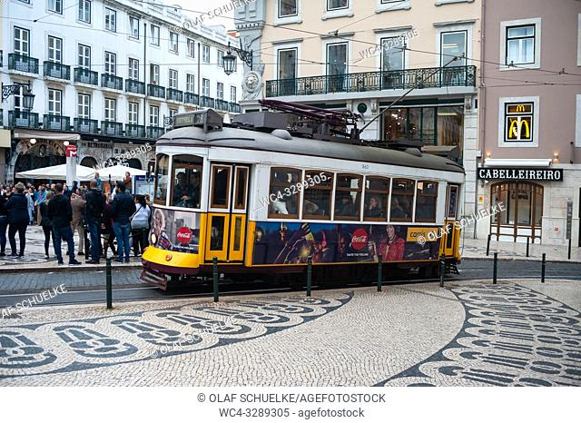 Lisbon, Portugal, Europe - A tram in the historical neighbourhood of the Portuguese capital