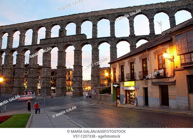 Roman aqueduct at dusk. Segovia, Castilla León, Spain