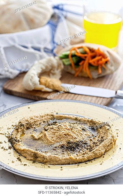 Hummus and stuffed pita bread