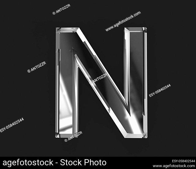White polished reflective crystal alphabet - letter N isolated on dark, 3D illustration of symbols