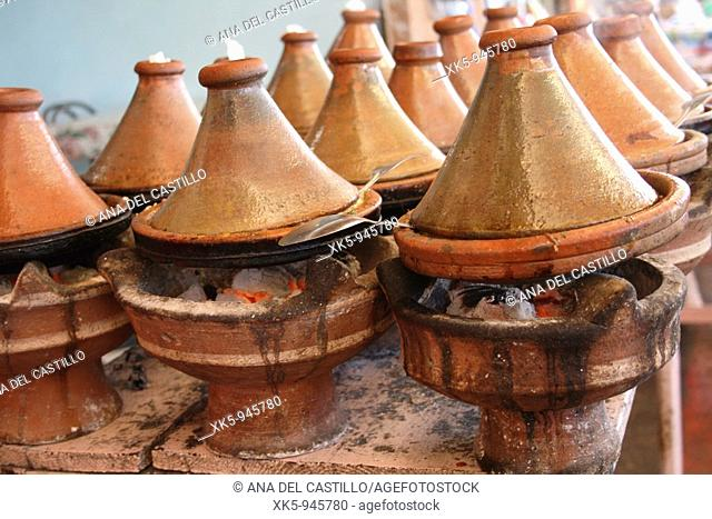 Traditional tagines in a street market, Agadir, Morocco