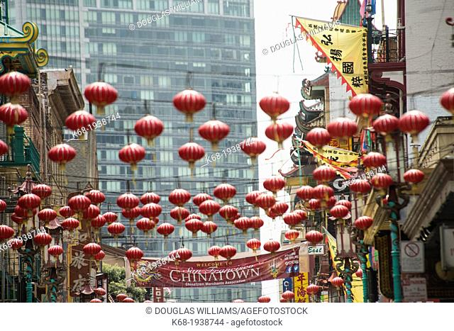 lanterns hang over the street in Chinatown, San Francisco, California, USA