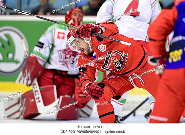 From left hockey player Lukas Cingel of Hradec Kralove celebrates goal during the Champions Hockey League H group game: Hradec Kralove vs Cardiff Devils in...