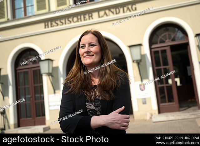 21 April 2021, Hessen, Wiesbaden: Janine Wissler, leader of the parliamentary group of the Left Party in the state parliament of Hesse and co-leader of the Left...