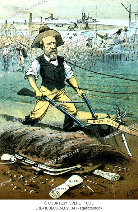 'The weak government', political cartoon showing President Rutherford B. Hayes plowing under the carpet bag & bayonets with a plow marked Let'em alone policy