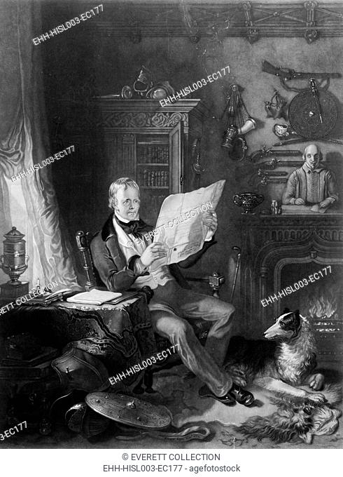 Sir Walter Scott (1771-1832), Scottish writer in his study at Abbotsford, surrounded by historical weapons, portraits, and statues related to the subjects of...