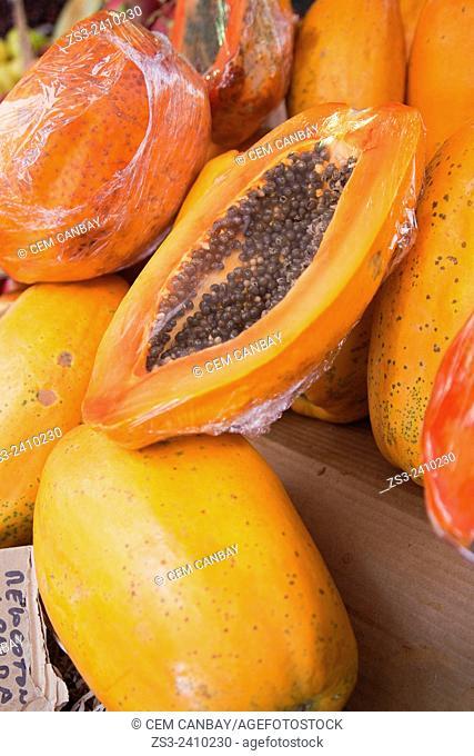 Papaya sor sale on the market stall of the Mercado de Nuestra Senora de Africa market, Santa Cruz, Tenerife, Canary Islands, Spain, Europe