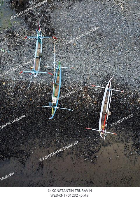 Indonesia, Bali, Aerial view of traditional boats