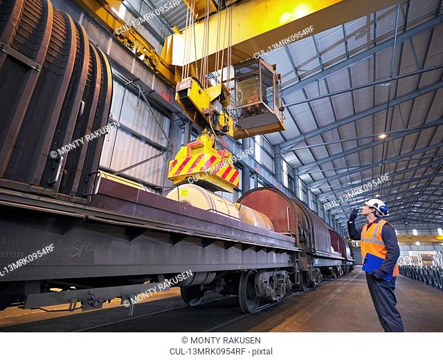 Port Worker Loading Cargo On To Train