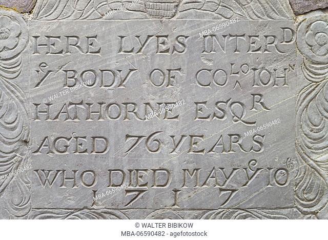 USA, Massachusetts, Salem, Old Burying Point Cemetery, gravestone detail