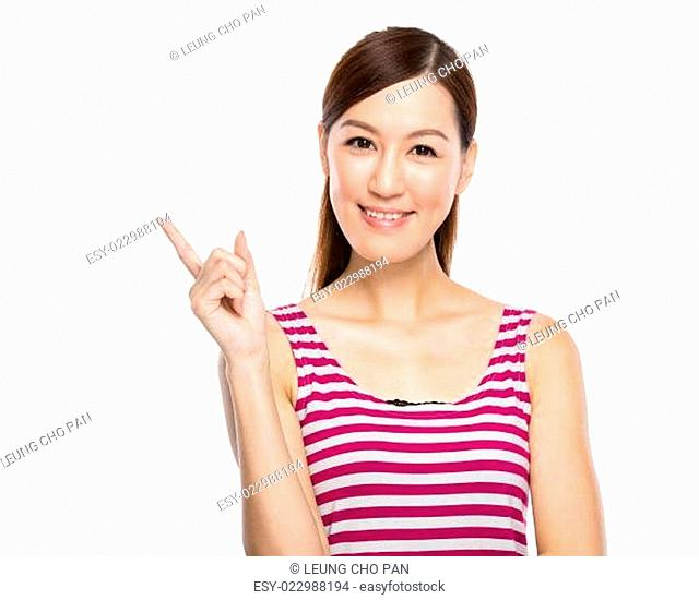 Asian woman with finger point out