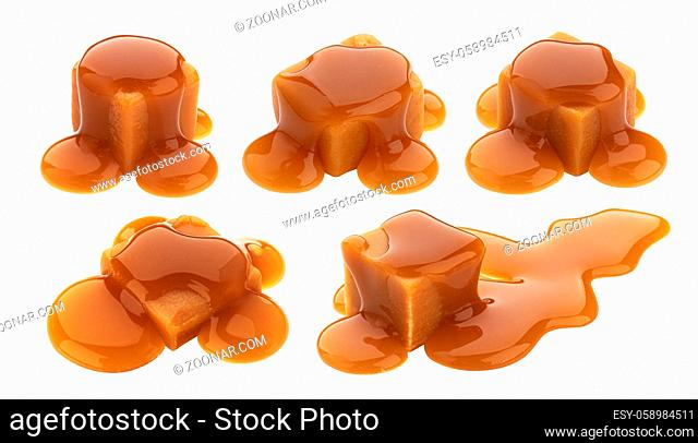 Caramel candy and caramel sauce isolated on white background with clipping path