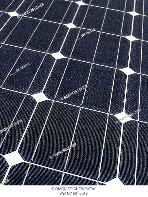 Solar Panel Close Up, Photovoltaic Panel for Renewable electricity Generation