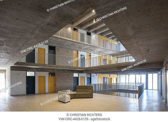 Full-height social areas in student accommodation. Thapar Universiy, Patiala, India. Architect: McCullough Mulvin Architects, 2018