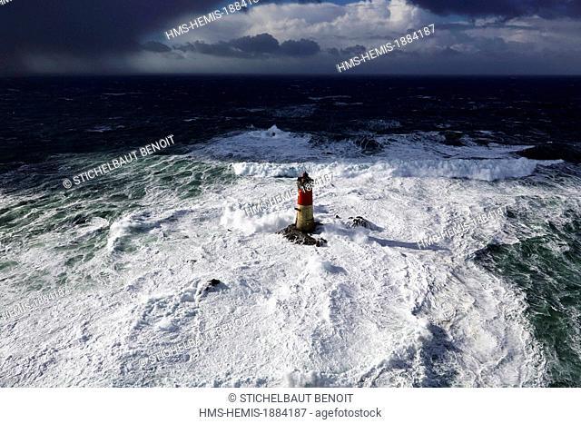 France, Finistere, Iroise Sea, Parc Naturel Regional d'Armorique (Armorica Regional Natural Park), Le Conquet, Les Pierres Noires lighthouse during storm Ruth