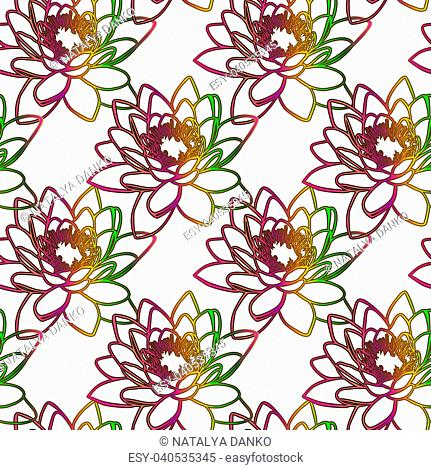 bud of a blooming lily in a multi-colored gradient fill, seamless pattern isolated on a white background