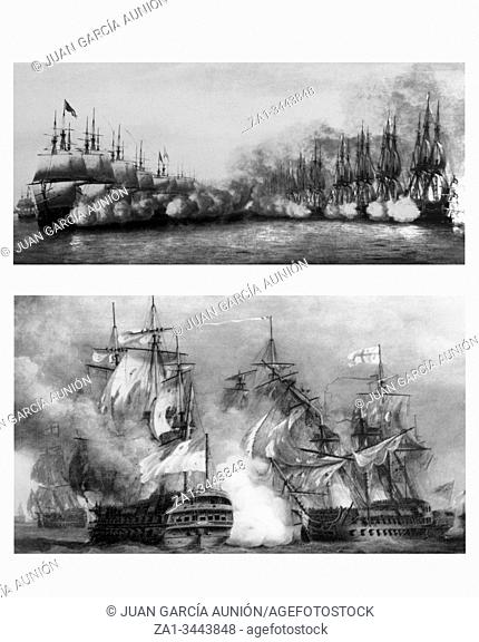 Battle in line and battle in column at sailing naval warfare. 18th Century engraving