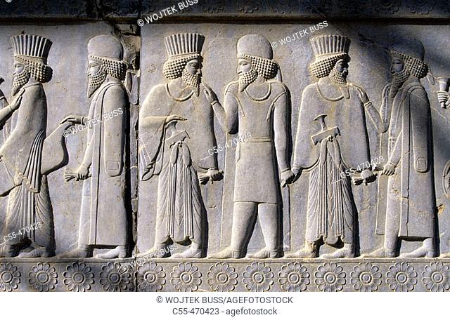 Nobility. Bas-relief. East stairs. Apadana. Persepolis. Iran