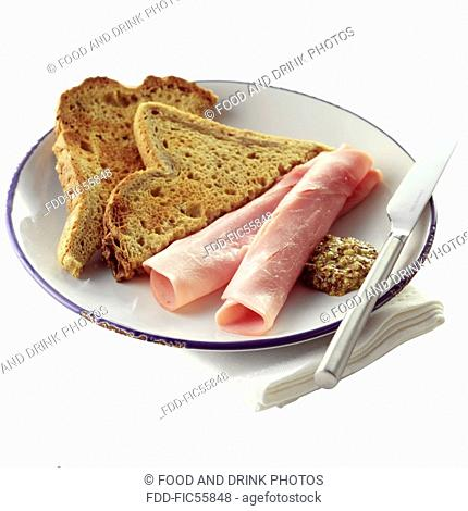 Sliced Ham with Toast and a Dollop of Wholegrain Mustard