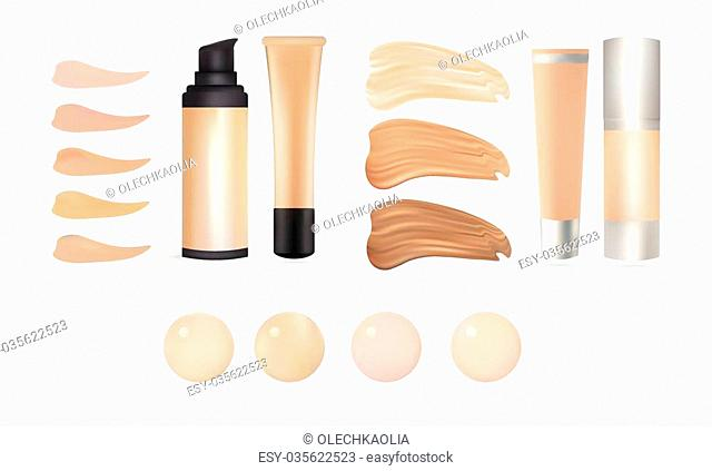 Vector Realistic Make Up Foundation Bottles and Containers with Color Shades Palette. Illustration Of Beauty Priduct Package, Template
