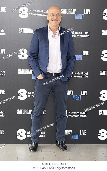 Italian tv host Claudio Bisio at Saturday Night Live tv show photocall. Milano, April 6th 2018