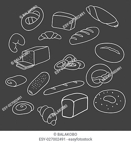 bakery vector on a black background, freehand drawing