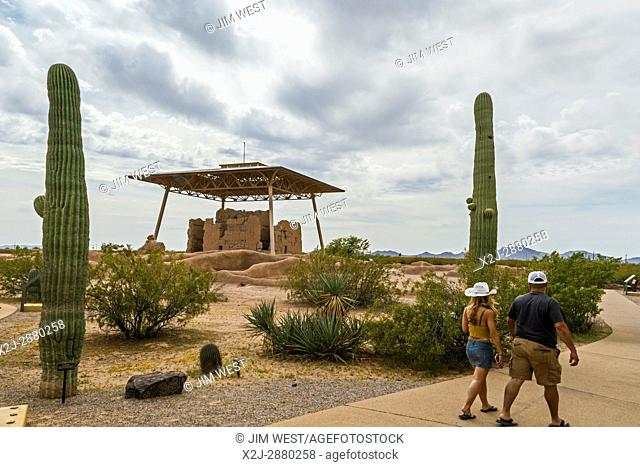 Coolidge, Arizona - Casa Grande Ruins National Monument. The four-story building has survived seven centuries in the Sonoran Desert