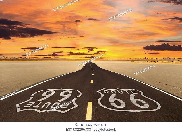 Romanticized rendition of Route 66 crossing a dry lake bed in the vast Mojave desert
