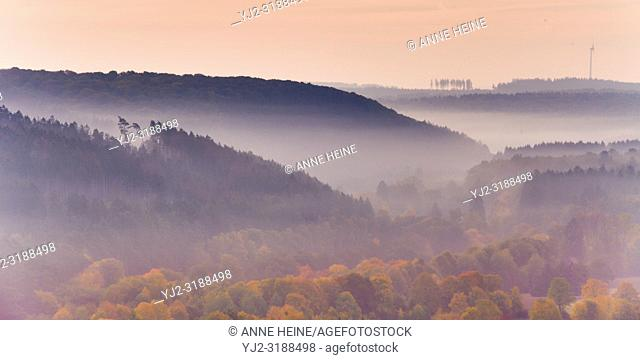 Looking from Haarstrang into the Sauerland on a morning in fall. Rüthen, Soester Börde, Germany